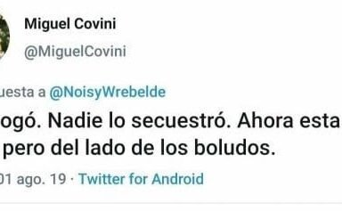 Funcionario macrista insultó a Santiago Maldonado por twitter