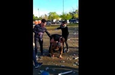 Repudiable: rugbiers golpean brutalmente a un indigente