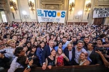 Alberto Fernández y Pepe Mujica juntos en el Colegio Nacional Buenos Aires