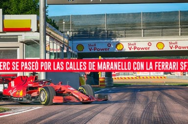 Leclerc se paseó por las calles de Maranello con la Ferrari SF1000