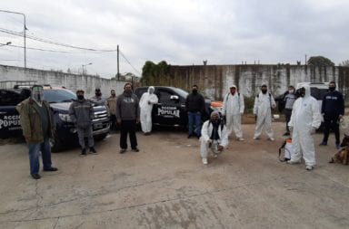 """Coronavirus: La Agrupación """"Acción Popular"""" realizó un operativo de desinfección en el barrio Garrote de Tigre"""