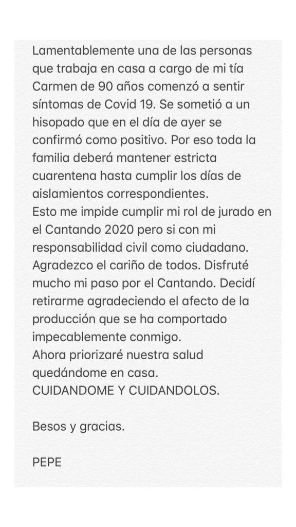 Comunicado de Pepe Cibrian