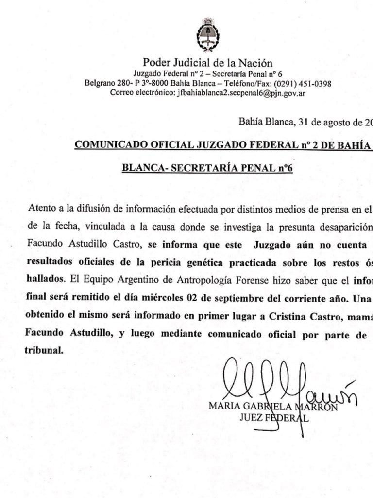 Facundo Castro: este miércoles se conocerá el análisis de ADN realizado a los restos hallados en Villarino
