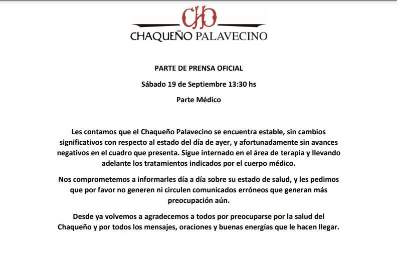 Comunicado oficial sobre la salud del Chaqueño Palavecino