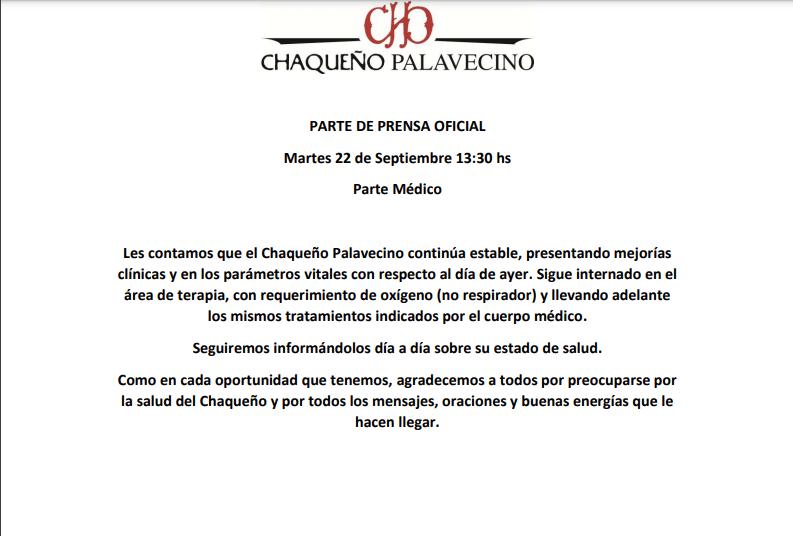 Nuevo parte médico del Chaqueño Palavecino