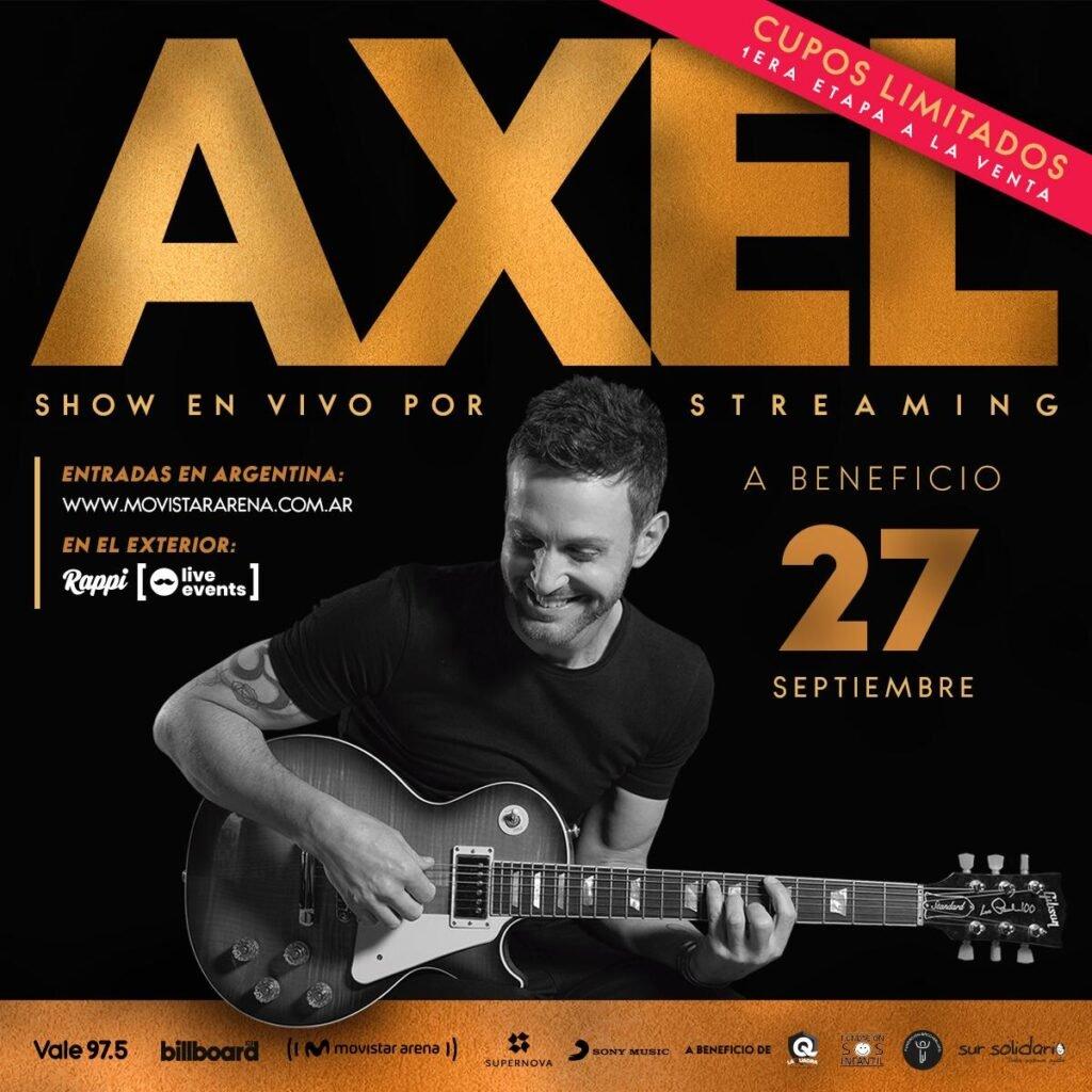 Axel realizará su primer show solidario vía streaming