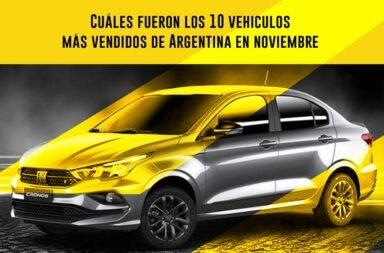 ¿Cuáles fueron los 10 vehículos más vendidos de Argentina en noviembre?