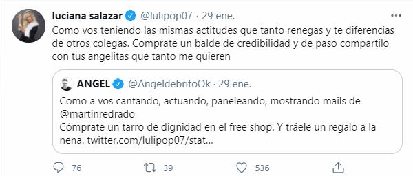 Luciana Salazar y Angel De Brito a los palos