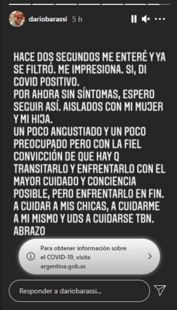 Darío Barassi dio positivo para covid:
