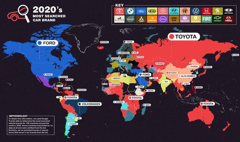 ¿Cuál fue la marca de autos más buscada en internet en 2020?