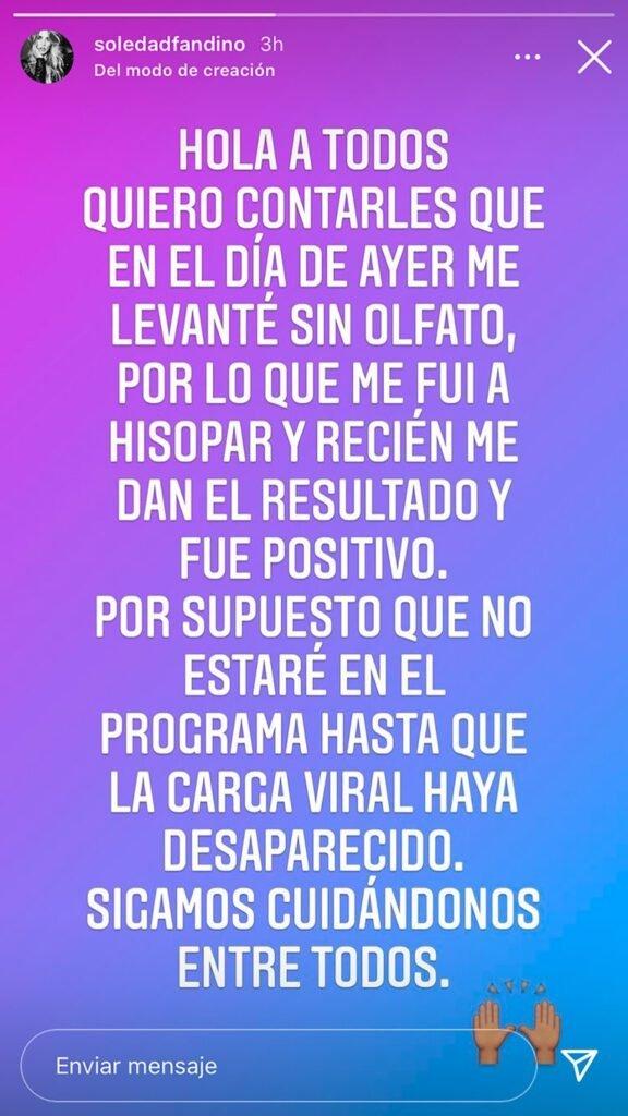 Soledad Fandiño tiene coronavirus: