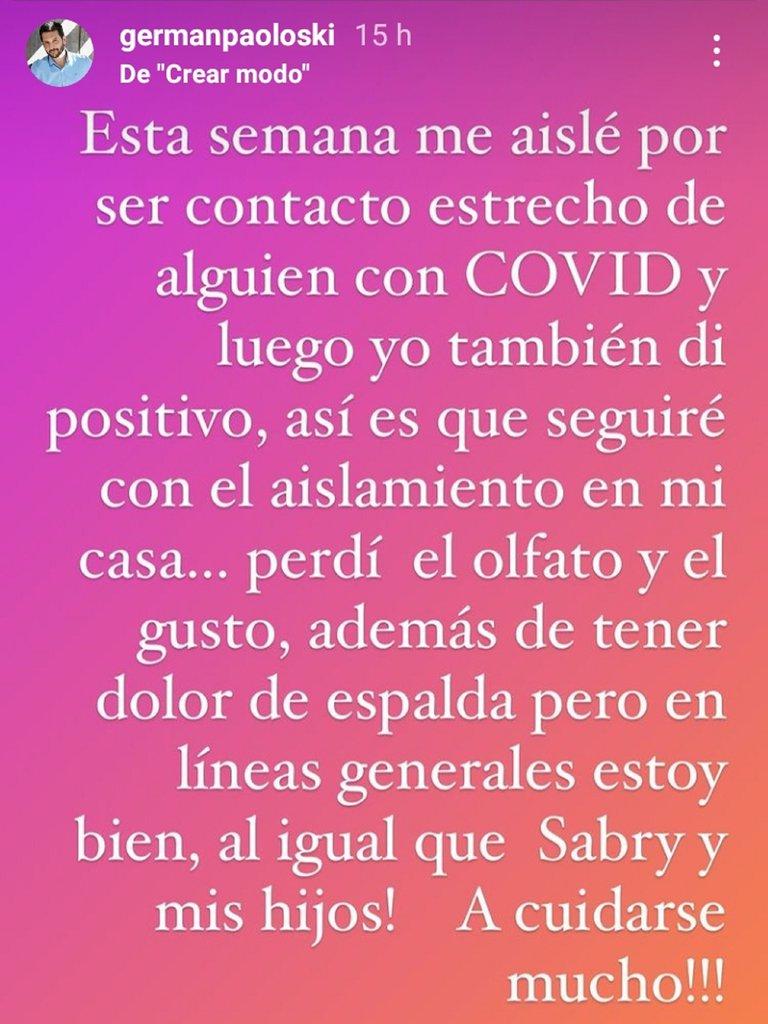 Germán Paoloski, COVID positivo: