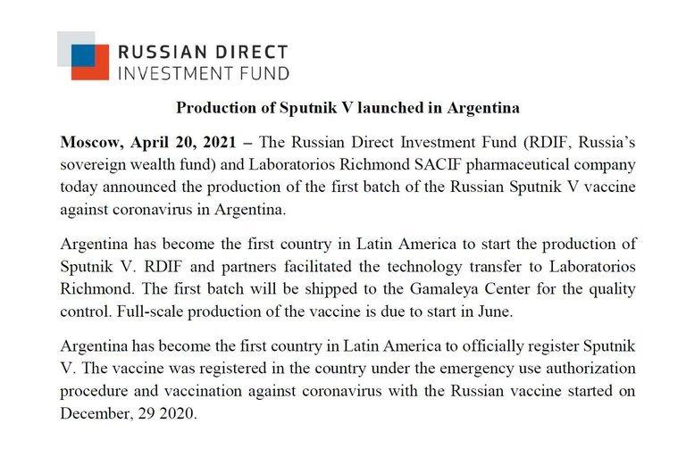 La vacuna rusa Sputnik V mostró una eficacia del 97,6%