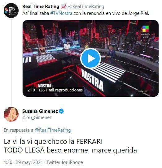 Susana Giménez destrozó a Jorge Rial: