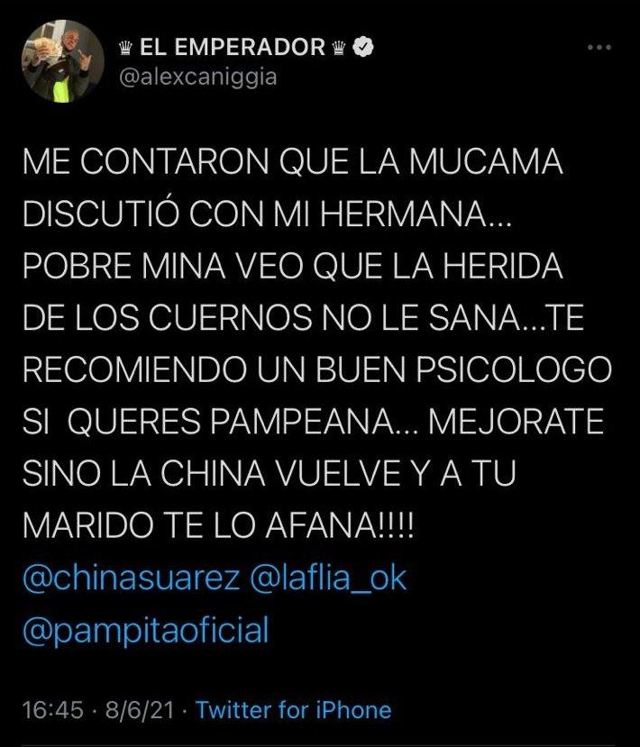 Alex Caniggia a Pampita: