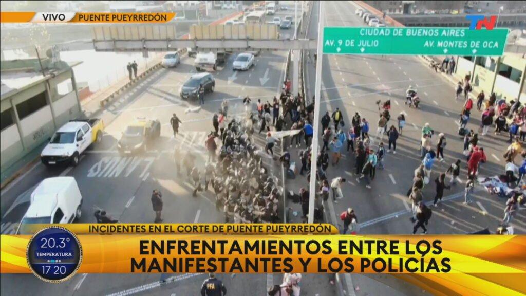 Corte e incidentes en Puente Pueyrredón: se registraron heridos y detenidos