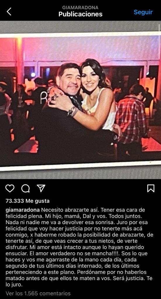 Gianinna Maradona y un mensaje a su padre: