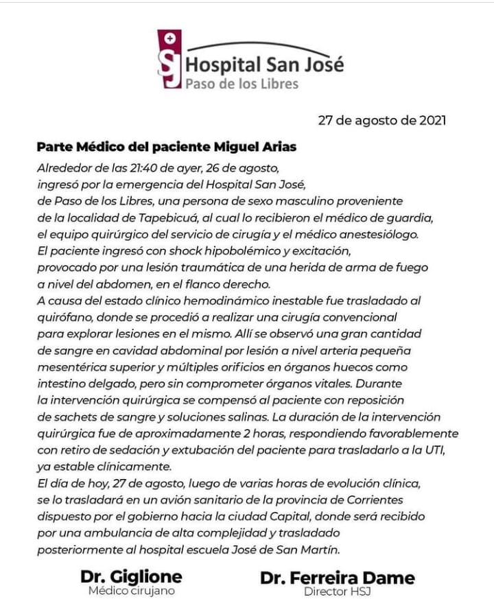 Parte médico del diputado baleado en Corrientes