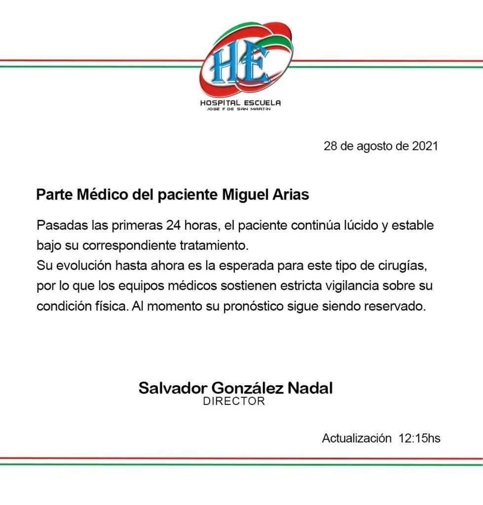 Qué dice el último parte médico del diputado que fue baleado en Corrientes