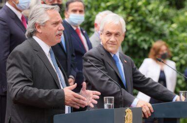 El Presidente Alberto Fernández y su par chileno Sebastián Piñeira