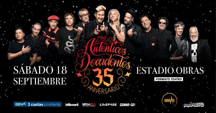 Los Auténticos Decadentes festejan sus 35 años en el estadio Obras