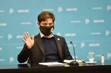 Axel Kicillof durante el anuncio de ampliar la presencialidad en las escuelas provinciales