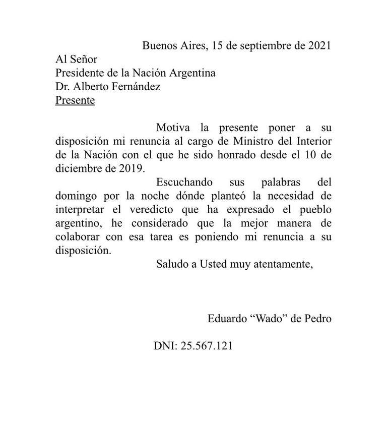 """Tras la derrota en las PASO, """"Wado"""" De Pedro y otros funcionarios que responden a CFK pusieron sus renuncias a disposición de Alberto Fernández"""