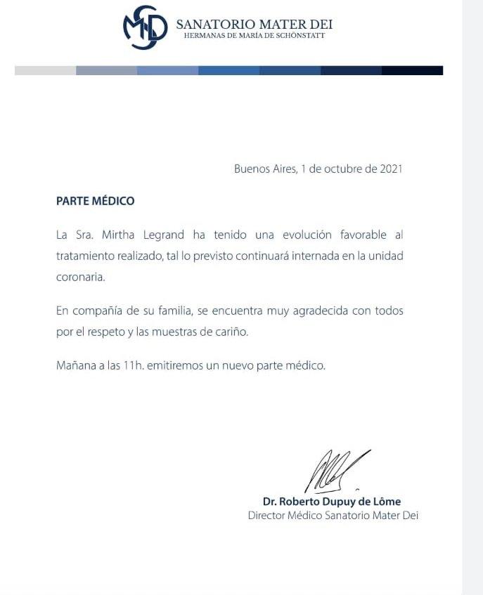 Mirtha Legrand continuará internada: el nuevo parte médico