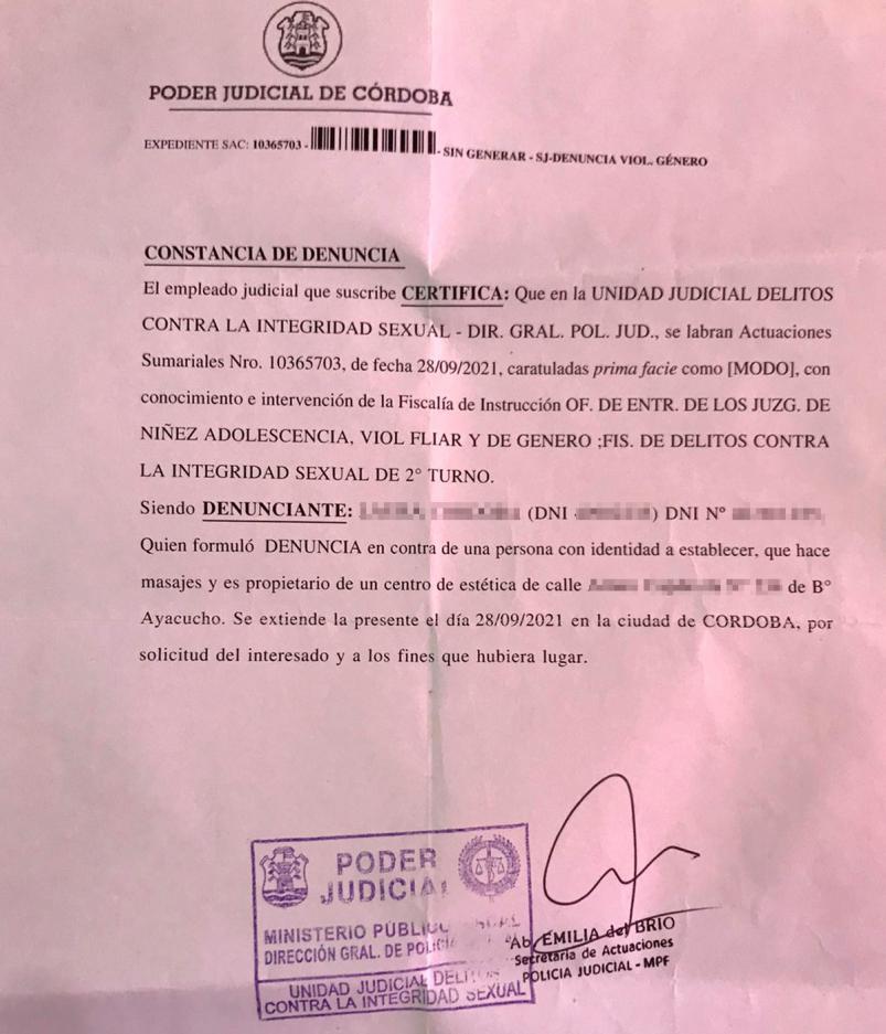 La palabra del masajista acusado de abuso sexual en Córdoba