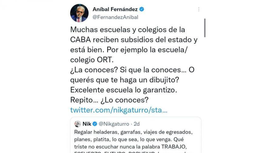 El tuit de Aníbal Fernández contra Nik que generó un fuerte repudio y el pedido de renuncia de la oposición