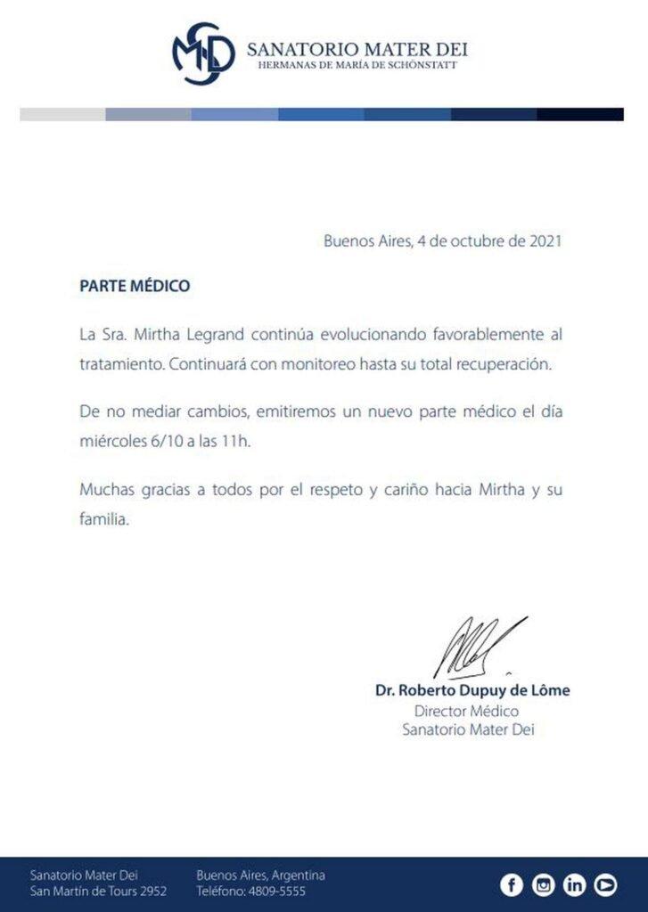 Una semana más de internación para Mirtha Legrand